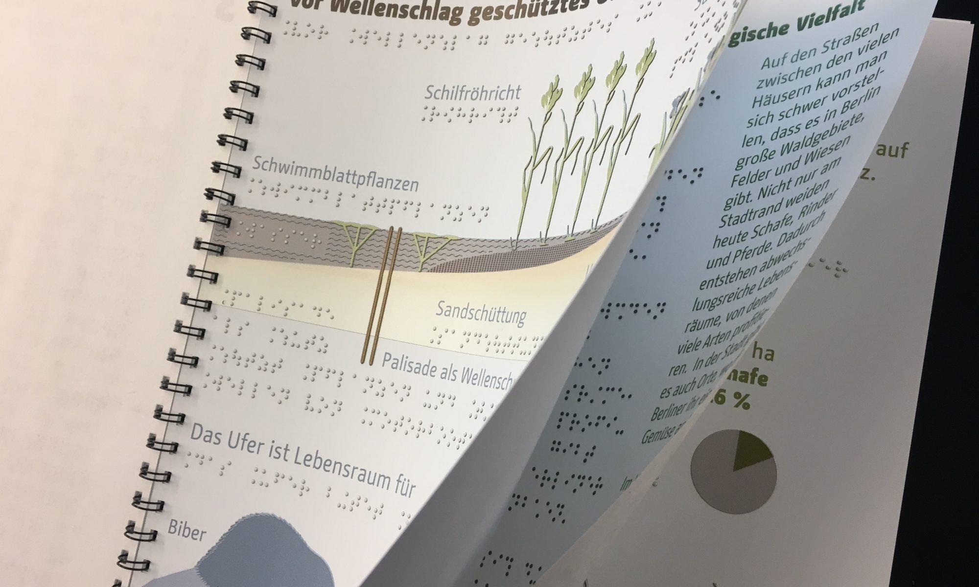 Ein Buch mit einfachen Texten, Punktschrift und großartigen Grafiken, taktil umgesetzt