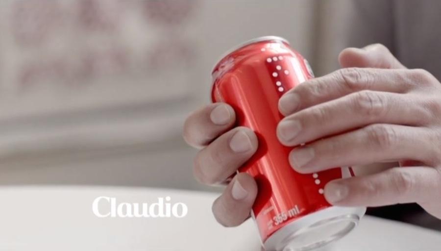 Coca Cola mit Punktschrift